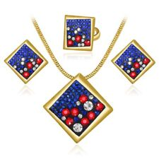 Colorful Women Crystal Rhinestone Pendant Necklace Earrings Jewelry Set Gift Hot