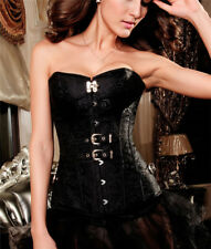 Sexy Black Jacquard Satin Overbust Corset Lace up Bustier Top Bustier Lingerie
