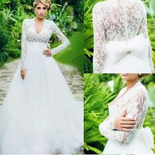 Retro Wedding Dresses Lace V-Neck Long Sleeve Back Bowknot Tulle Bridal Gowns