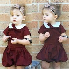 Toddler Baby Girls Short Sleeve Tutu Dress Romper Jumpsuit Playsuit Sunsuit