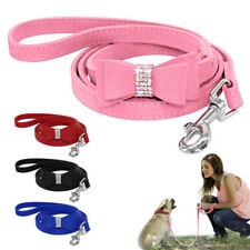Rhinestone Diamante Pet Dog Leads Soft Suede Bowknot for Doggie Cat Puppy Leash