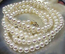 "Long 25"" 36"" 50"" 65"" 80"" 100"" 7-8mm Natural White Akoya Cultured Pearl Necklace"