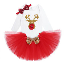 Newborn Kids Baby Girls Christmas Clothes Reindeer Romper +Tutu Skirt Outfit Set