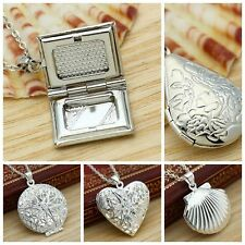 Antique 925 Silver Sterling Locket Hollow Heart Book Photo Pendant Necklace Lady