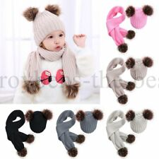Kids Girls Hat with Scarf Tie Up Baby Hat Winter Set Cap with Scarf Warm