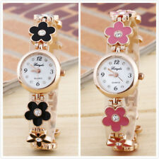 Fashion Daisies Flower Rose Golden Bracelet Ladies Girls Wrist Watch New