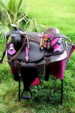 Western Cordura Trail Barrel Pleasure Horse SADDLE Bridle Tack Pink 4979