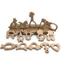 Cute Safe Natural Wooden Animal Shape Ring Baby Teether Teething Toy Shower Fad