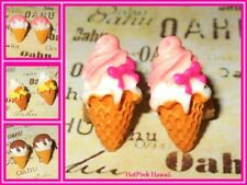 Ice Cream Cone Silver Plated Stud Pierced Earrings Strawberry Chocolate USA MADE