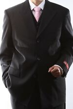 MENS SUPER 150S 3 BUTTON EXTRA FINE BLACK 3 PCS VESTED DRESS SUIT,SML-60513R-BLK