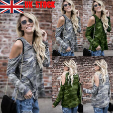 UK Women Off Shoulder Camouflage T-Shirt Lady Casual Tops Long Sleeve Blouse Tee