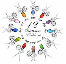 Vincenza Personalised Birthstone Necklace Pendant Elements Crystal Teardrop