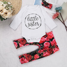 Infant Baby Girl Outfit Bodysuit Top Romper Floral Pants Headband Outfit Clothes
