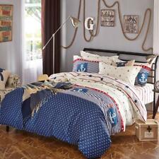Elegant stripes with anchor patterns 4PC bed set queen size cotton