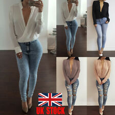 US Women's Chiffon Tops Deep V Neck T Shirt Long Sleeve Casual Tee Loose Blouse