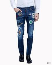 NEW DSQUARED2 SLIM Dsquared Cool Guy Patch Jeans Blue