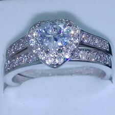 Heart Lovers Jewelry Topaz Gem 10KT White Gold Filled 2 Wedding Ring Set Sz 5-11