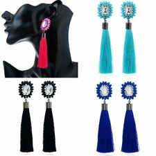 Retro Rhinestone Long Tassel Fringe Thread Drop Earrings Woman Lady Jewelry Gift