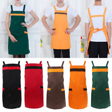 Female Men Solid Unisex 2 Pockets Restaurant Cooking Chefs Aprons
