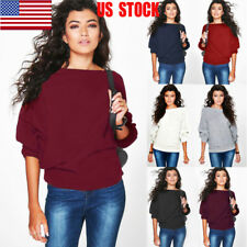 US Women's Batwing Long Sleeve Tops Autumn Knitted Sweater Outwear Pullover Coat