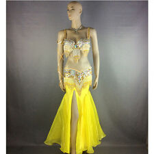 belly dance costume wear stage performance 5-piece GOLD dancing skirt dress set