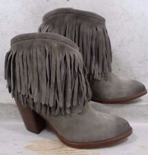 NEW Frye Womens Ilana Fringe Gray Suede Leather Ankle Boots Shoes size 10 M