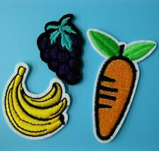 3 Pc Patch Carrot Banana Grape Food Iron Sew on Embroidered Badge Applique Motif