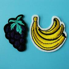 2 Pc Patch Grape Banana Food Iron Sew on Embroidered Badge Applique Motif Fruit.