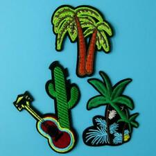 3 Patch Cactus Desert Iron on Embroidered Badge Applique Motif Biker Palm Tree.
