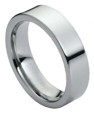 Tungsten Carbide Ring Wedding Band 6mm Polished Shiny Flat Pipe Cut Style