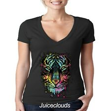 NEW Neon Tiger JUNIORS V-Neck Shirt Tiger Splash Big Cat Tee
