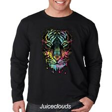 NEW Neon Tiger Men's Long Sleeve Shirt Tiger Splash Big Cat Tee