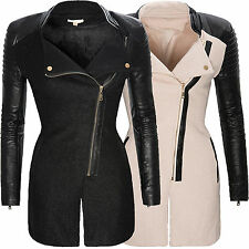 Womens Coat Winter Jacket with Faux Leather Sleeves Stand Up Collar D-128 Black