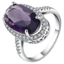 Oval Purple CZ 2017 Hot Design Rings White Gold Plated Silver Rings For Woman