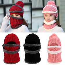 Warm Removeable Women Winter Knitted Protection Ear Cap Rider Beanie Hat