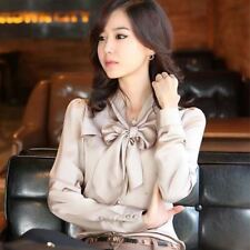Women New Fashion White Beige Color Long Sleeve Vintage Bow Casual Blouse