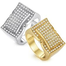 Mens Band Ring Yellow White Gold Filled Micro Paved Clear CZ Rectangle Wedding
