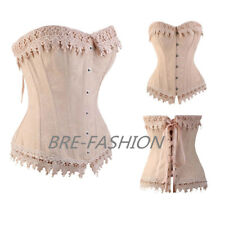 Sexy Lovely Cream Pink Lace Up Boned Overbust Women Corset Bustier Top Size BRE