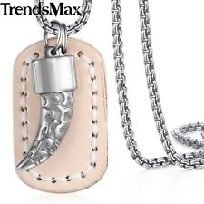 Womens Mens Necklace Chain Stainless Steel Silver Dog Tag Pendant Beige Leather