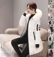 Warm Ladies Knee Length Thicken Coat Down Fur Collar Hooded Cotton Padded Parka