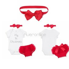 Newborn Baby Girls My 1st Christmas Outfit Romper Bloomers Headband Set Dress Up