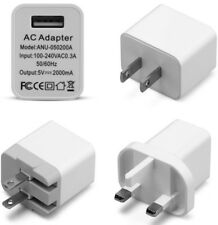 2.4A US/UK 3 Pin Plug USB Wall Fast Mains Charger Power Adapter Cord for Phone