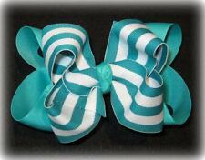 big boutique hair bows, Toddler baby Hairbows Blue Lagoon Teal Large layered bow