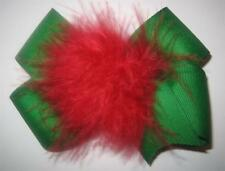 Girl Boutique Hair Bow Marabou Puff Christmas RED Green
