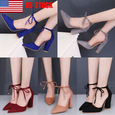 US Women Lace Up Strappy Block High Heels Party Formal Pumps Sandals Shoes Size