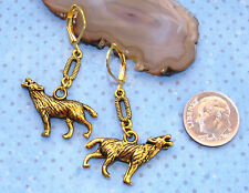 HOWLING WOLF Charm Lever Back Earrings OPTIONS: earwires, length & color