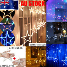 8 Modes 12 Stars Hanging Curtain String Lights Window Icicle Christmas Backdrops