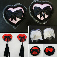 Reusable Adhesive Goth Burlesque Dancer Nipple Pasties Breast Covers Bows Tassel