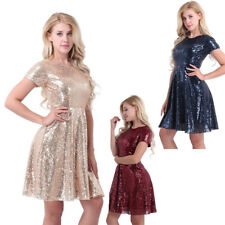 Women Short Sleeve Sequin Bridesmaid Evening Party Cocktail A-Line Skater Dress