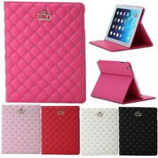 New Luxury Crown Grid Plaid Smart Leather Case Cover Stand For iPad 6 Air 2